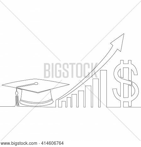 Continuous One Single Line Drawing Rising Cost Of Education Icon Vector Illustration Concept
