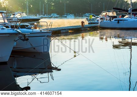 Early Morning View On Yacht Marine, Charter Yachts And Boats Moored In The Marina At Lake