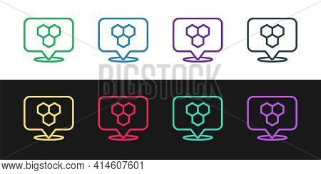 Set Line Honeycomb Bee Location Map Pin Pointer Icon Isolated On Black And White Background. Farm An