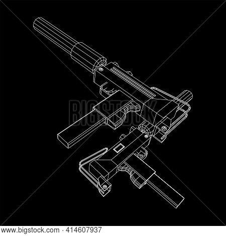 Submachine Gun Modern Firearms Pistol With Silencer