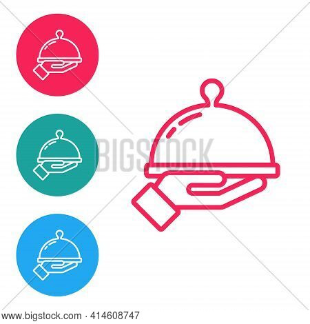 Red Line Covered With A Tray Of Food Icon Isolated On White Background. Tray And Lid Sign. Restauran