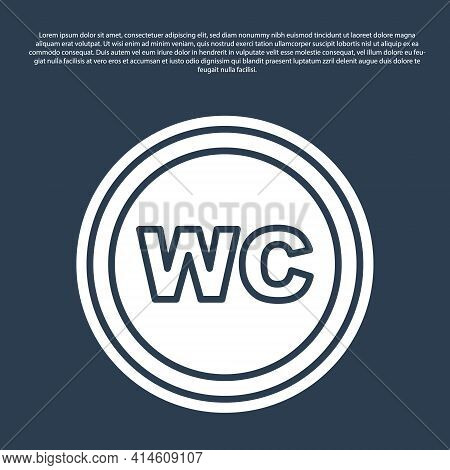 Blue Line Toilet Icon Isolated On Blue Background. Wc Sign. Washroom. Vector