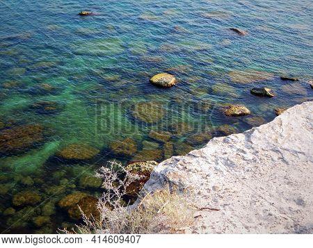 Rocks On The Shore Of The Caspian Sea. Kazakhstan. Mangistau Region. 16 July 2019 Year.