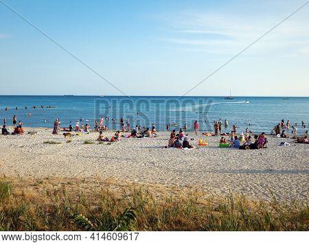 Sandy Beach On The Caspian Sea. Kazakhstan. Mangistau Region. Aktau City. 28 August , 2019 Year.