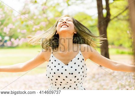 Outdoor Autumn Summer Portrait Of A Asian Young Beautiful Free Happy Women Enjoying Nature. Beauty G