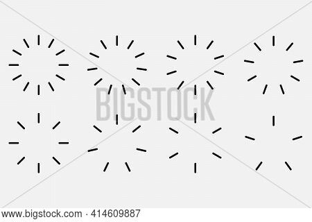 Starburst And Sunburst Radial Effect Set. Vector Illustration.