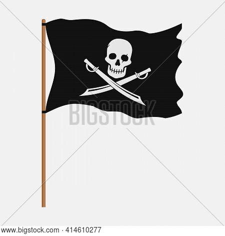 Torn Pirate Flag With White Skull Symbol. Vector Illustration.