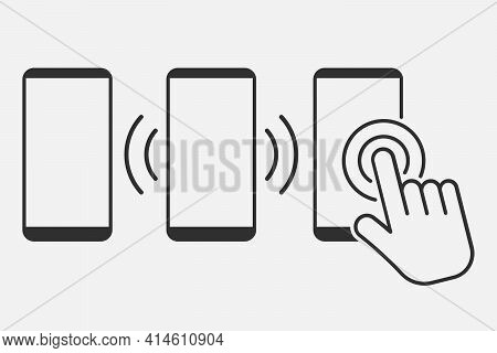 Hand Touch Screen Smartphone Icon. Click On The Smartphone. Vector Illustration.