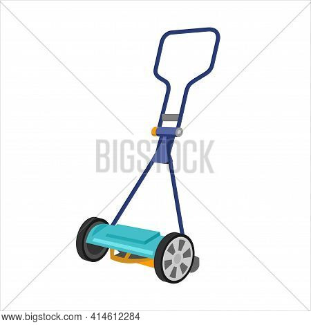 Manual, Mechanical Lawn Mower. Object, Lawnmower, Trimmer On A White Background In The Cartoon Style