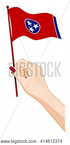 Female Hand Gently Holds Small Flag Of American State Of Tennessee. Holiday Design Element. Cartoon