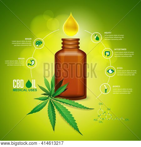 Concept Of Cannabis Oil Or Cbd Oil For Medical Uses, Graphic Of Oil Drop With Medicine Bottle And Ca
