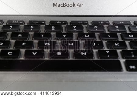 Paris, France - March 26, 2021 :  Close Up Of Keyboard Of A Macbook Air