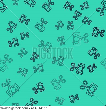 Black Line Scissors Cutting Money Icon Isolated Seamless Pattern On Green Background. Price, Cost Re