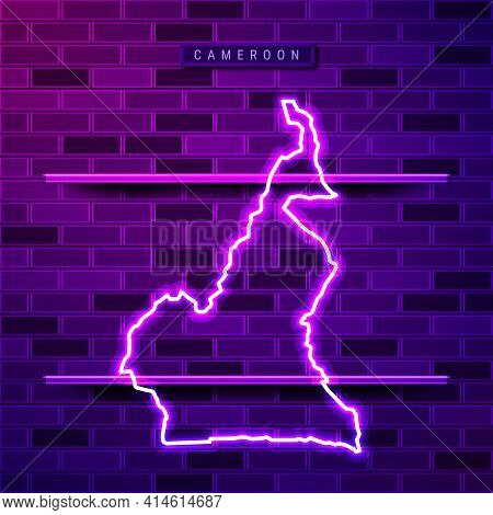 Cameroon Map Glowing Neon Lamp Sign. Realistic Vector Illustration. Country Name Plate. Purple Brick