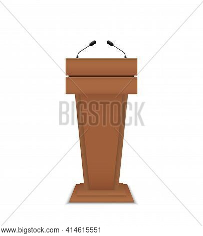 Podium For Debate. Rostrum Of Conference. Wooden Pulpit For Speech. Tribune With Microphone For Spea