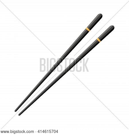Chopstick For Chinese Sushi, Japan Hashi. Wooden Black Chop Stick With Yellow Strip Isolated On Whit