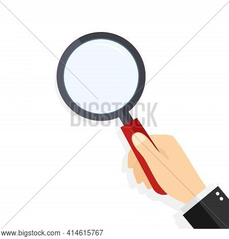 Magnify Glass In Hand. Hand Hold Of Loupe. Magnifier With Lens For Zoom And Search. Icon For Detecti