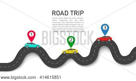 Road Trip. Map With Car And Pin Location. Roadmap For Journey. Infographic For Taxi, Race. Curve Of