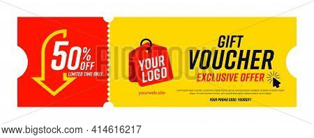 Coupon Template With Exclusive Offer Up To 50 Percent Off. Gift Voucher With Limited Time Exclusive