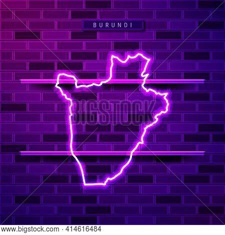Burundi Map Glowing Neon Lamp Sign. Realistic Vector Illustration. Country Name Plate. Purple Brick