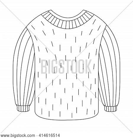 Wool Sweater For A Holiday Gift In The Style Of Doodle. Vector Illustration Of A Warm Jumper With A