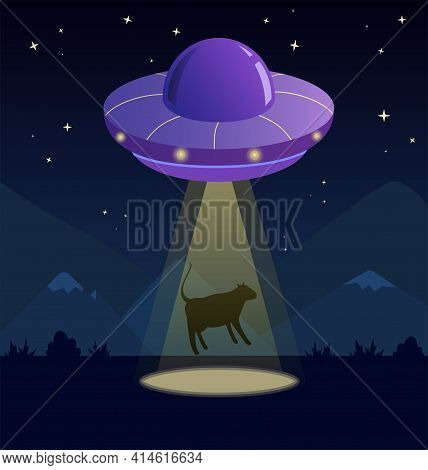 Purple Space Ship Ufo, Yellow Ray Of Light Kidnaps A Cow. Vector Isolated Illustration In Cartoon St