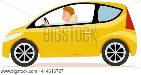 Beautiful Girl With Short Hair Driving Yellow Transport. Hatchback, Smart, Passenger Car With Driver