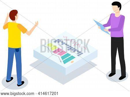 Men While Analysing Statistical Indicators. People Study Statistics Shown On Center Platform