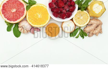 Set Of Natural Fruits And Vegetables To Boost Immune System Isolated On White, View From Above. Supe