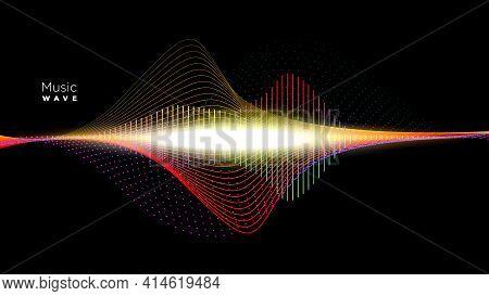 Abstract Sound Wave Rhythm Background Vector Illustration.