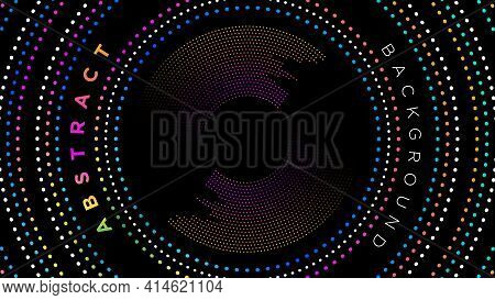 Dotted Frame Of Multi-colored Circles On A Black Background Vector Illustration.