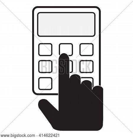 Calculator Icon On White Background. Flat Style. Calculator Flat Sign. Hand Holds Calculator Symbol.