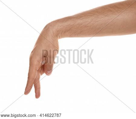 Man Imitating Walk With Hand On White Background, Closeup. Finger Gesture