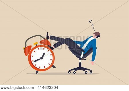 Afternoon Slump, Laziness And Procrastination Postpone Work To Do Later, Boredom And Sleepy Work Con