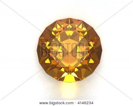 Citrine gemstone isolated on white background. Luxury object. poster