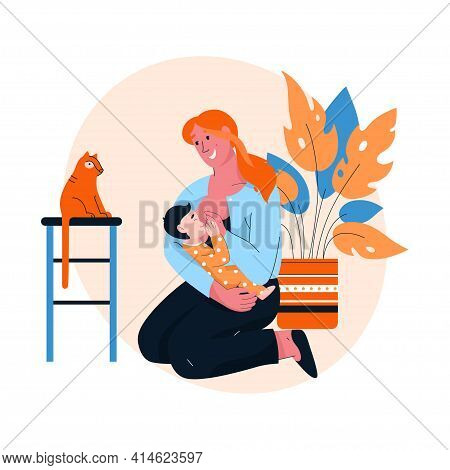 Happy Mother Breastfeeding Her Baby At Home