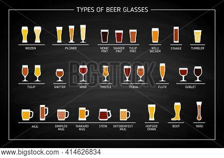 Beer Glass Types On Black Chalkboard. Vector