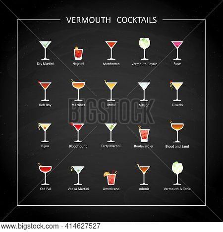 Vermouth Cocktails Flat Icons On On Black Chalkboard. Vector