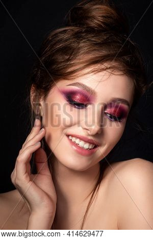 Closeup Portrait Of Young Beautiful Smiling Woman With Bright Pink Smokey Eyes Modern Summer Make Up