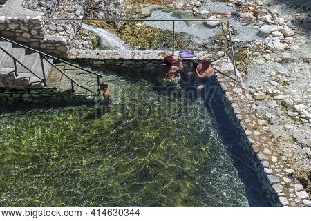 Pozar Thermal Baths In Central Macedonia, Greece. 09/04/2020. The Ancient, Known, Municipal, Thermal