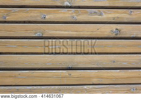 Wood Surface With Natural Wood Pattern. Wooden Wall Of The House, Covered With Varnish. Natural Brow