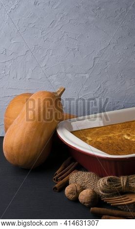 Harvest. Ripe Pumpkins In A Basket. Healthy Eating. Pumpkin Dishes. Autumn Rustic Background. Vegeta