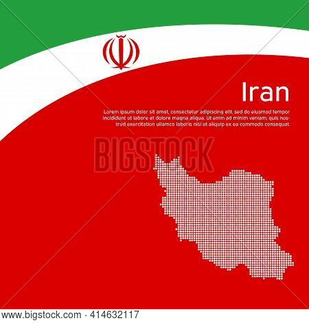 Abstract Waving Iran Flag, Mosaic Map. Iranian State Patriotic Banner, Flyer. Business Booklet. Card