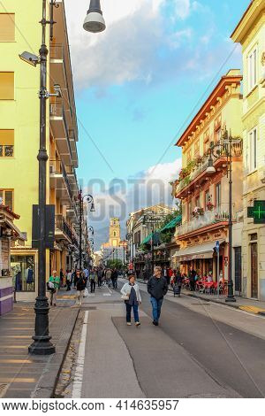 Sorrento, Italy - June 29, 2014: Tourists Strolling The Streets Of Sorrento.
