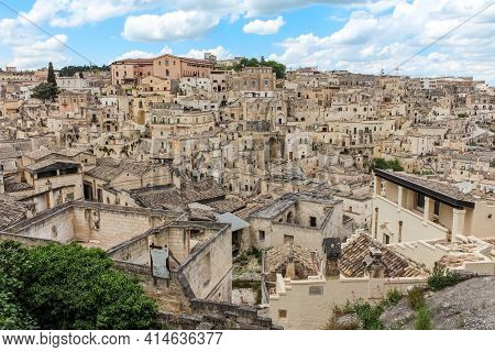 View Of The Sassi Di Matera, A Historic District In Matera City, Well-known For Its Ancient Cave Dwe