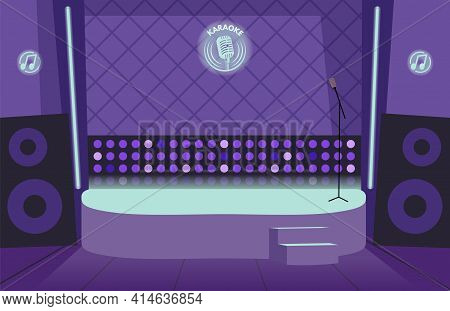 Karaoke Bar Interior. Empty Stage, Lights And Microphone. Nightclub Or Dance, Comedy Stand Up Club V