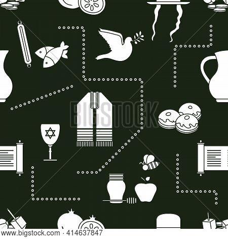 Vector Illustration Jewish Holiday Traditional Symbols Torah Scroll, Oil Jar, Star Of David, Pomegra