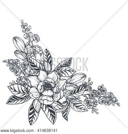 Vector Bouquet Of Doodle Hand Drawn Magnolia, Sakura Flowers And Leaves. Beautiful Romantic Elegant