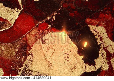 Abstract Gold, Black And Red Marble Texture With Sparkles. Vector Background In Alcohol Ink Techniqu