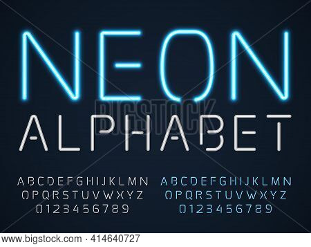 Neon Font. Latin Fluorescent Tubes Latin Alphabet, Glowing Blue Light Letters And Numbers, Electric